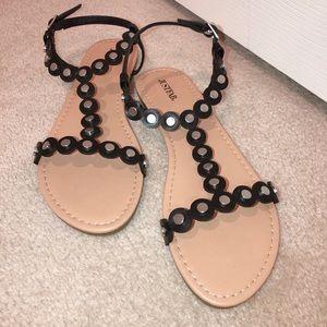 Black Studded Flat Sandal